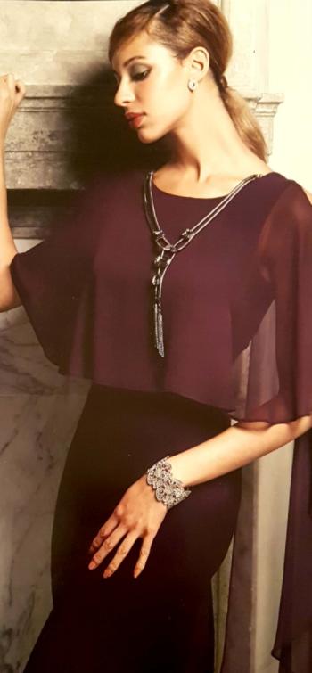 3 - Robe en voile violette avec collier 359